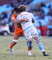 Pablo Matera of the Jaguares tackling RG Snyman of the Vodacom Bulls during the Super Rugby match between the Vodacom Bulls and the Jaguares at Loftus Versfeld in Pretoria, South Africa on Saturday, 7 July 2018. Photo: Steve Haag / stevehaagsports.com