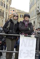 Roma, 15 Marzo 2013.Montecitorio, .Manifestazione fuori dal Parlamento nel primo giorno della XVII Legislatura del Parlamento italiano per chiedere il rispetto della costituzione ,contro F35, per l'acqua pubblica.
