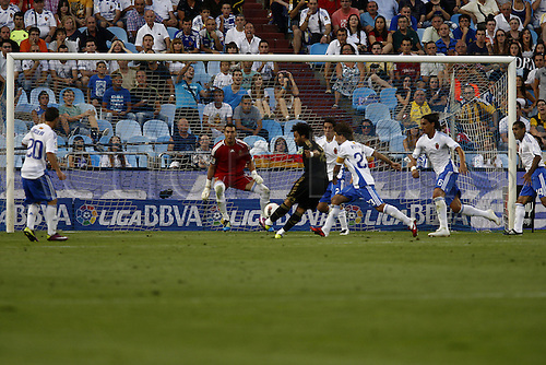 28.8.2011. Aragon, Spain. Spanish La Liga Football. Real Zaragoza versus Real Madrid.  Marcelo scoring his goal in the match against Real Zaragoza . Real Madrid won the game by the score of 6-0.