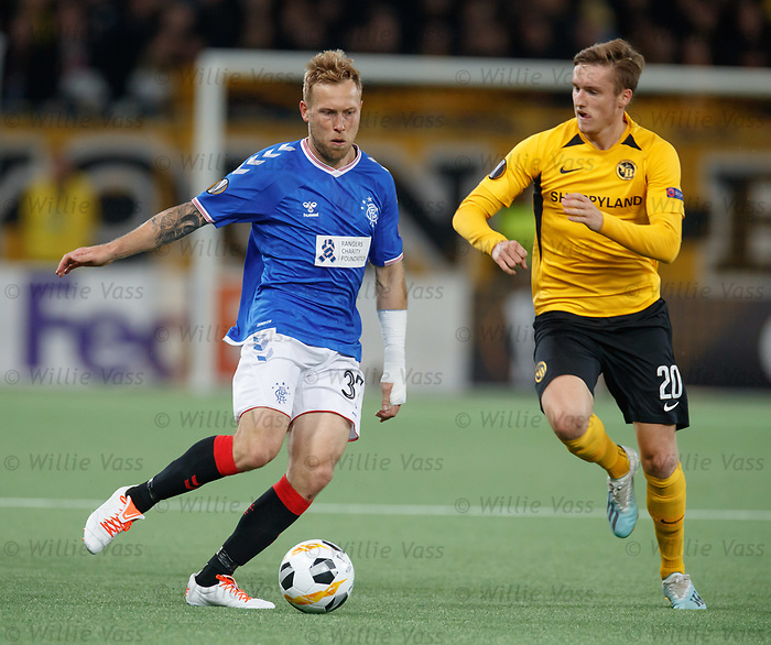 03.10.2019 Young Boys of Bern v Rangers: Scott Arfield and Michel Aebischer