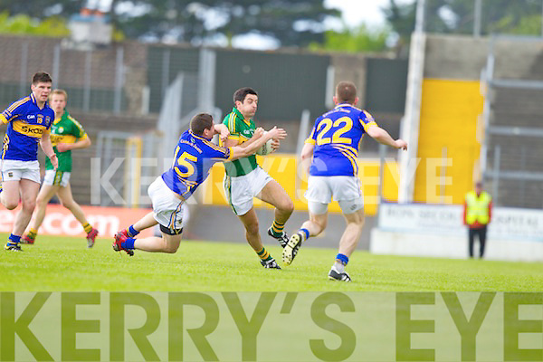 Aidan O'Mahony, Kerry in action against Philip Austin, Tipperary in the first round of the Munster Football Championship at Fitzgerald Stadium on Sunday.