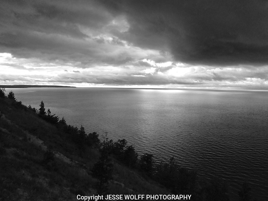 Lake Michigan Black and White Photo