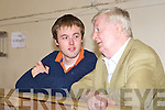 John O'Donoghue son Michael Pat chats with Tom Fitzgerald at the South Kerry Lisbon Treaty count in the Aras Padraig Killarney on Friday.   Copyright Kerry's Eye 2008