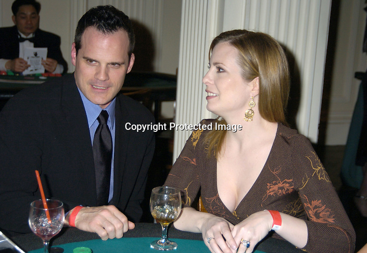 Michael Park and Martha Byrne ..at The Black Tie and Blackjack Casino NIght in support of The Leukemia & Lymphoma Society at The Downtown Association on February 12, 2005. ..Photo by Robin Platzer, Twin Images