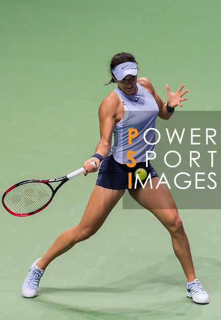 Caroline Garcia of France hits a shot in her singles match against Caroline Wozniacki of Denmark during the BNP Paribas WTA Finals Singapore presented by SC Global at Singapore Sports Hub on 27 October 2017 in Singapore. Photo by Victor Fraile / Power Sport Images