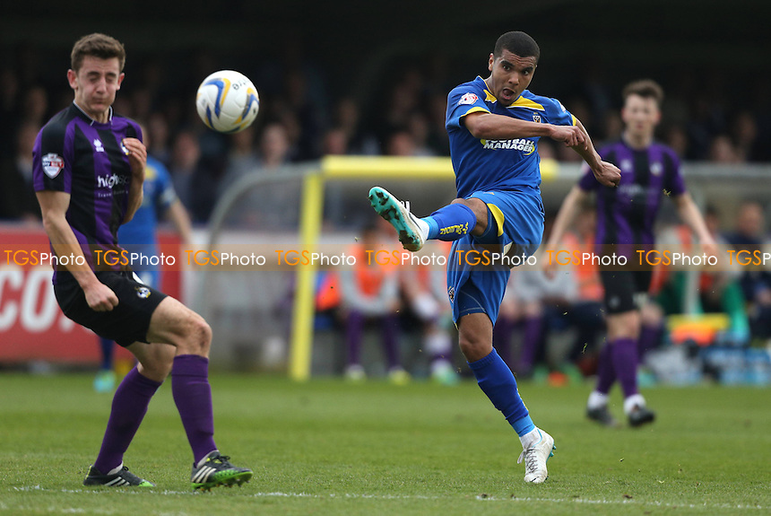 Kwesi Appiah of AFC Wimbledon shots towards goal - AFC Wimbledon vs Bristol Rovers - Sky Bet League Two Football at Kingsmeadow, Norbiton, London - 05/04/14 - MANDATORY CREDIT: Simon Roe/TGSPHOTO - Self billing applies where appropriate - 0845 094 6026 - contact@tgsphoto.co.uk - NO UNPAID USE