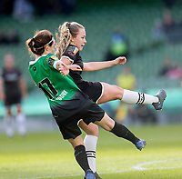 3rd November 2019; Aviva Stadium, Dublin, Leinster, Ireland; FAI Cup Womens Final Football, Peamount United versus Wexford Youth Womens Football Club; Lauren Kelly of Wexford Youths shot on goal gets past Niamh Reid Burke of Peamount United despite Dearbhaile Beirne of Peamount United efforts 1 - 2 - Editorial Use