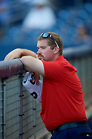 Palm Beach Cardinals Chris Whitman in the dugout during a game against the Charlotte Stone Crabs on April 21, 2018 at Charlotte Sports Park in Port Charlotte, Florida.  Charlotte defeated Palm Beach 5-2.  (Mike Janes/Four Seam Images)