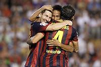 FC Barcelona's Leo Messi (l), Cesc Fabregas (r) and Neymar Santos Jr celebrate goal during La Liga match.September 1,2013. (ALTERPHOTOS/Acero) <br /> Football Calcio 2013/2014<br /> La Liga Spagna<br /> Foto Alterphotos / Insidefoto <br /> ITALY ONLY