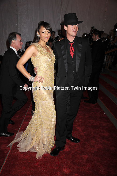 """Paula Patton and husband Robin Thicke.arriving at The Costume Institute Gala of The Metropolitan Museum of Art on May 5, 2008. The costume exhibit was .""""Superheroies: Fashion and Fantasy...Robin Platzer, Twin Images"""