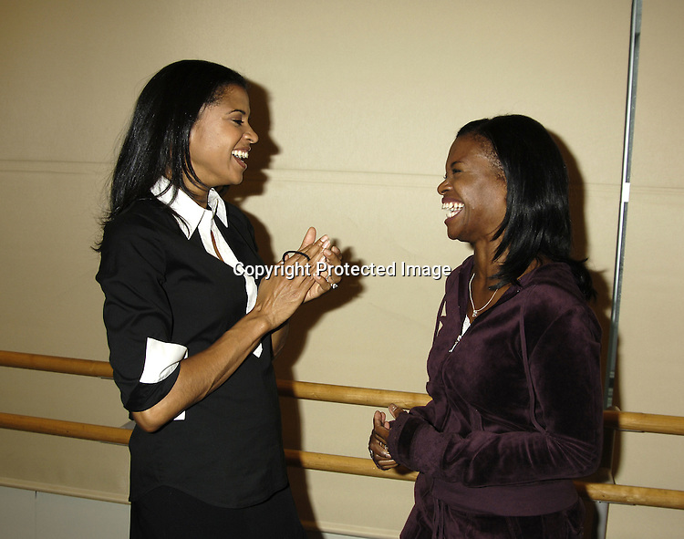 "Renee Elise Goldsberry and LaChanze ..at a press rehearsal of the new musical ""The Color Purple"" ..on October 12, 2005 at the New 42nd Street Studios. ..Photo by Robin Platzer, Twin Images"