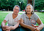 WOODBURY,  CT-072418JS26--Carol Hennessey and Anne Spry, both of Woodbury, at the Woodbury Lions Club Appreciation Picnic held at Hollow Park. The Lions Club wanted to thank people and volunteers who have supported their organization. More than 100 people were invited to the event. <br /> Jim Shannon Republican American