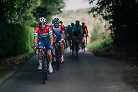 Quick Step Floors trainee &amp; Hungarian National Champion Barnab&aacute;s Pe&aacute;k (HUN) driving the peloton <br /> (his national jersey is very similar to that one of Italian Champion Elia Viviani; but there green is the top colour...)<br /> <br /> 98th Brussels Cycling Classic 2018<br /> One Day Race:  Brussels &gt; Brussels (201km)