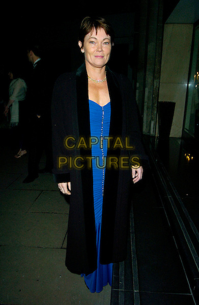 TRACEY EDWARDS.At The Paul O'Gorman Banquet & Ball, Grosvenor House Hotel, Park Lane, London, England, November 10th 2007..full length blue dress black coat.CAP/CAN.©Can Nguyen/Capital Pictures