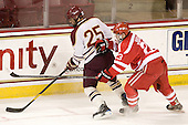 Anthony Cusano (BC - 25), Steve Jordan (BU - 23) - The Boston College Eagles defeated the visiting Boston University Terriers 6-2 in ACHA play on Sunday, December 4, 2011, at Kelley Rink in Conte Forum in Chestnut Hill, Massachusetts.