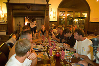Saint Vincent-les-Forts, Lac de Serre Poncon, France, September 2007. Dinner in Volantis. Volantis is home to the paragliding school Inferno. In one week time, students learn to fly the paraglider and earn their mountain licence 1. Photo by Frits Meyst/Adventure4ever.com
