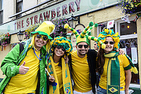 01.08.2012 Newcastle, England. Brazilian fans gather outside Newcastle legendary Football pub, the Strawberry prior to the Olympic Football Men's Preliminary game between Brazil and New Zealand from St James Park.