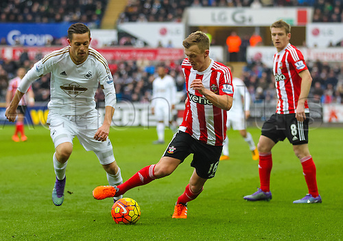 13.02.2016. Liberty Stadium, Swansea, Wales. Barclays Premier League. Swansea versus Southampton. Southampton's James Ward-Prowse in action during the match