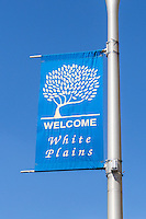 A welcome banner posted on a lamp post in downtown White Plains, New York