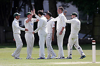 Finchley celebrate their first wicket during Finchley CC vs Brondesbury CC (batting), ECB National Club Championship Cricket at Arden Field on 12th May 2019
