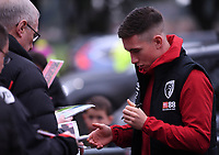 23rd November 2019; Vitality Stadium, Bournemouth, Dorset, England; English Premier League Football, Bournemouth Athletic versus Wolverhampton Wanderers; Harry Wilson of Bournemouth signs autographs as he arrives at Vitality Stadium - Strictly Editorial Use Only. No use with unauthorized audio, video, data, fixture lists, club/league logos or 'live' services. Online in-match use limited to 120 images, no video emulation. No use in betting, games or single club/league/player publications