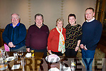 Ann Walsh from Cloherbrien celebrating her 80th birthday in the Meadowlands Hotel on Saturday night. L to r: Martin Walsh, John Sullivan, Ann Walsh, Elaine Smith and Paul Baker.