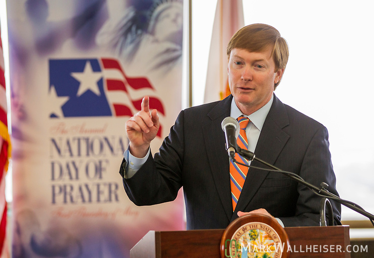Adam Putnam, Florida Commissioner of Agriculture, speaks during a prayer rally on the National Day of Prayer on the 22nd floor of the Florida Capitol in Tallahassee, Florida.