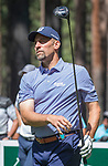 John Smoltz hits a tee shot on the fourth hole during the American Century Championship at Edgewood Tahoe Golf Course in Stateline, Nevada, Saturday, July 14, 2018.