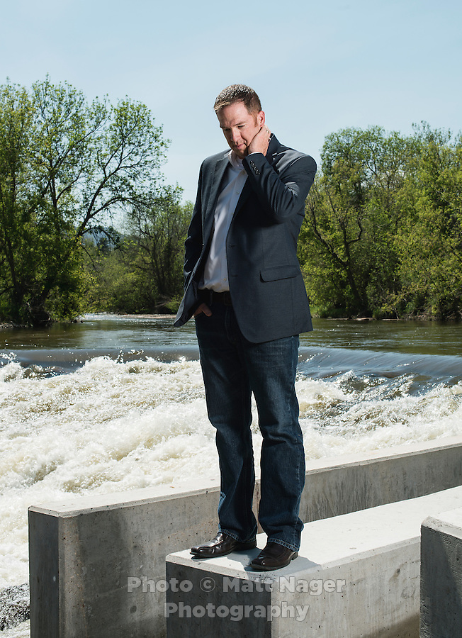 Executive Director of the St. Vrain and Left Hand Water Conservancy District Sean Cronin (cq) near new dams built in the St. Vrain River near Lyons, Colorado, Monday, June 23, 2015. The St. Vrain River flooded in 2013 after days of big rains. <br /> <br /> Photo by Matt Nager