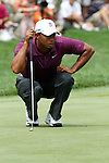 Tiger Woods (USA) on the 1st green on day 1of the World Golf Championship Bridgestone Invitational, from Firestone Country Club, Akron, Ohio. 4/8/11.Picture Fran Caffrey www.golffile.ie