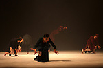 Members of ZfinMalta Dance Ensemble, perform during the opening night of Ramallah contemporary dance festival, at Ramallah cultural palace in the West Bank city of Ramallah, on April 16, 2015. Ramallah Contemporary Dance Festival is an annual artistic festival specialized in contemporary dance, organizing by Sareyyet Ramallah since in 2006. Photo by Shadi Hatem