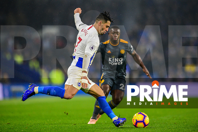 Beram Kayal of Brighton & Hove Albion (7) In action during the Premier League match between Brighton and Hove Albion and Leicester City at the American Express Community Stadium, Brighton and Hove, England on 24 November 2018. Photo by Edward Thomas / PRiME Media Images.
