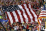 11 September 2012: U.S. fans unfurl a large American flag during the national anthem. The United States Men's National Team played the Jamaica Men's National Team at Columbus Crew Stadium in Columbus, Ohio in a CONCACAF Third Round World Cup Qualifying match for the FIFA 2014 Brazil World Cup. The U.S. won the game 1-0.