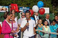Netherlands, Dordrecht, August 03, 2015, Tennis,  National Junior Championships, NJK, TV Dash 35, Opening ceremony,Fleur Amperse and Max Oskam <br /> Photo: Tennisimages/Henk Koster