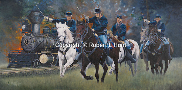 "Union cavalry squad charging the enemy in defense of a railroad train at Manassas, Virginia. Oil on canvas, 15"" x 30""."