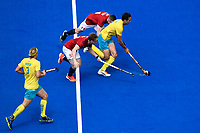 2nd February 2020; Sydney Olympic Park, Sydney, New South Wales, Australia; International FIH Field Hockey, Australia versus Great Britain; Tom Craig of Australia runs past Jacob Draper of Great Britain