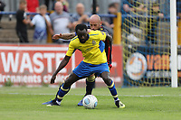 Bobson Bawling of St Albans holds off Scott Cuthbert of Stevenage in the box during St Albans City vs Stevenage, Friendly Match Football at Clarence Park on 13th July 2019