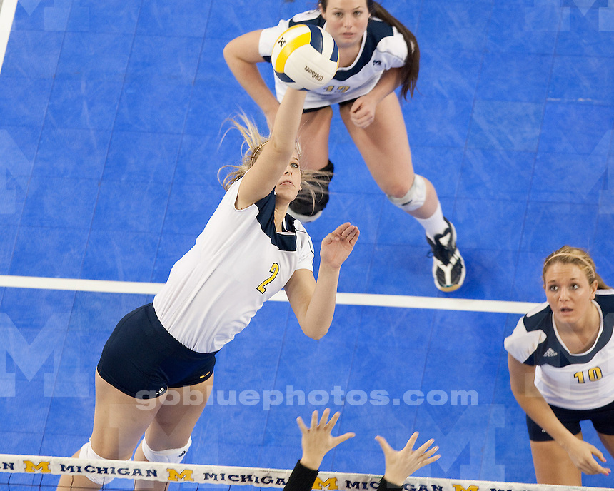 The University of Michigan volleyball team lost to Ohio State University, 3-1, at Crisler Arena in Ann Arbor, Mich., on November 25, 2011.