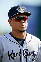 Kane County Cougars third baseman Ramon Hernandez (19) before a game against the South Bend Cubs on May 3, 2017 at Four Winds Field in South Bend, Indiana.  South Bend defeated Kane County 6-2.  (Mike Janes/Four Seam Images)