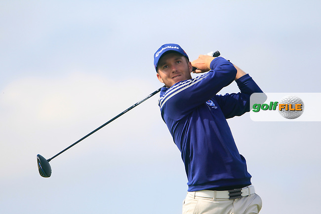 Daniel Young (SCO) on the 12th tee during the Home Internationals day 2 foursomes matches supported by Fairstone Financial Management Ltd. at Royal Portrush Golf Club, Portrush, Co.Antrim, Ireland.  13/08/2015.<br /> Picture: Golffile | Fran Caffrey<br /> <br /> <br /> All photo usage must carry mandatory copyright credit (&copy; Golffile | Fran Caffrey)