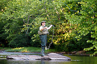 Fly fishing in Rivanna River in Albemarle County, VA. Photo/Andrew Shurtleff