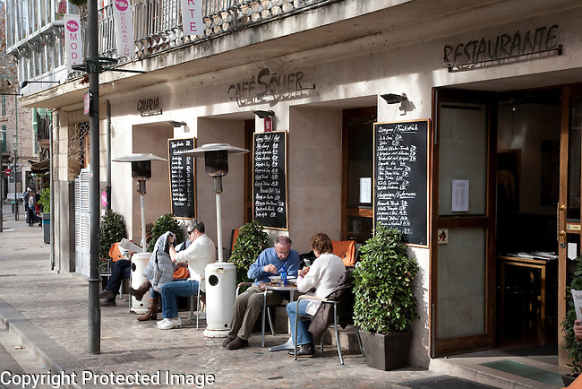 Cafe Soller on Constitution Square, Soller, Majorca, Spain