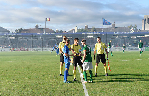04.08.2016. Cork, Ireland. UEFA, Europa League football qualification round.  Thomas Buffel captain of Krc Genk  and John Dunleavy captain of Corki city toss the coin at the start of the game