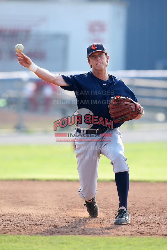 Connecticut Tigers first baseman Matt Perry (12) during a game vs. the Batavia Muckdogs at Dwyer Stadium in Batavia, New York July 8, 2010.   Connecticut defeated Batavia 4-2 in extra innings.  Photo By Mike Janes/Four Seam Images