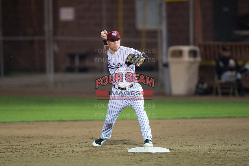 Idaho Falls Chukars second baseman Nathan Eaton (8) prepares to make a throw to third base during a Pioneer League game against the Great Falls Voyagers at Melaleuca Field on August 18, 2018 in Idaho Falls, Idaho. The Idaho Falls Chukars defeated the Great Falls Voyagers by a score of 6-5. (Zachary Lucy/Four Seam Images)