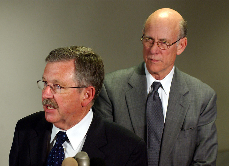 10/2/03.IRAQ/BANNED WEAPONS--David Kay, the American heading the CIA-led team in Iraq investigating whether Saddam Hussein's regime had banned weapons, with Senate Select Intelligence Chairman Pat Roberts, R-Kan., talks to media after appearing before the House and Senate Intelligence committees to discuss his findings..CONGRESSIONAL QUARTERLY PHOTO BY SCOTT J. FERRELL