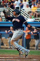Connecticut Tigers first baseman Juaner Aguasvivas #48 during a game against the Batavia Muckdogs at Dwyer Stadium on July 4, 2012 in Batavia, New York.  Batavia defeated Connecticut 3-2.  (Mike Janes/Four Seam Images)