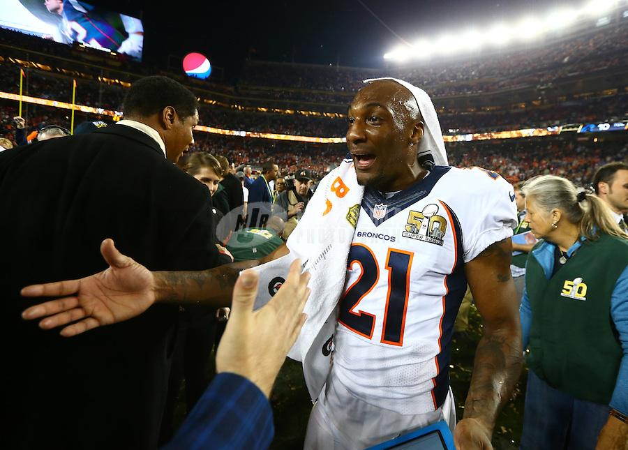 Feb 7, 2016; Santa Clara, CA, USA; Denver Broncos cornerback Aqib Talib (21) celebrates after defeating the Carolina Panthers in Super Bowl 50 at Levi's Stadium. Mandatory Credit: Mark J. Rebilas-USA TODAY Sports