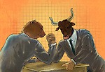 Anthropomorphic bear and bull arm wrestling representing the concept of Bear vs. Bull market