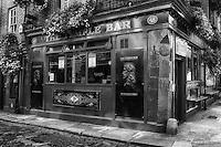 The landmark Temple Bar in Dublin shown in B&W.